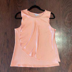 HALSTON Peach/Blush Sleeveless Overlay Top